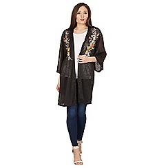 Blue Vanilla - Black kimono cardigan with floral embroidery
