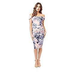 Jane Norman - Lilac floral ruched hydrangea dress
