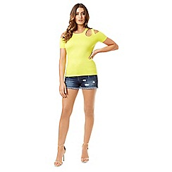 Jane Norman - Yellow cold shoulder cut out top