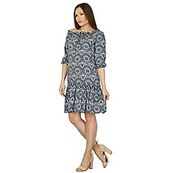 Apricot - Navy abstract print rustic dress
