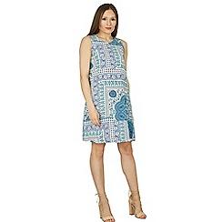 Apricot - Blue tile print shift dress
