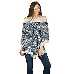 Apricot - Navy printed off shoulder top