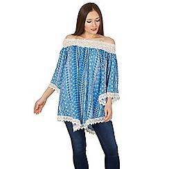 Apricot - Blue paisley print off shoulder top