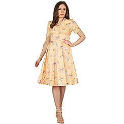 Lindy Bop - Yellow Ionia woodland tea dress