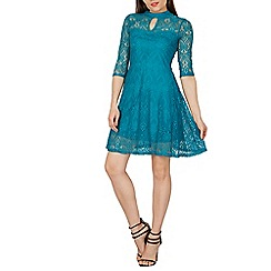 Izabel London - Turquoise netted keyhole neck dress