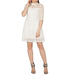 Izabel London - White netted keyhole neck dress