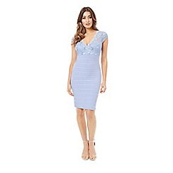 Jane Norman - Light blue bandage and lace cap sleeves dress