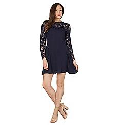 Blue Vanilla - Navy lace yoke & sleeves flare dress