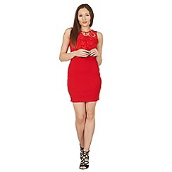 Tenki - Red sleeveless lace bodycon dress
