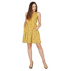 Tenki - Yellow floral dot two pocket dress