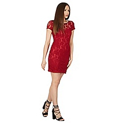 Tenki - Maroon plain floral lace dress