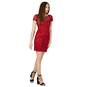 Tenki Maroon plain floral lace dress