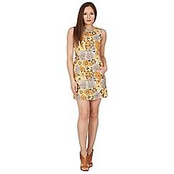 Tenki - Yellow floral sleeveless shift dress