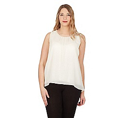 Samya - Cream split back top with necklace detail