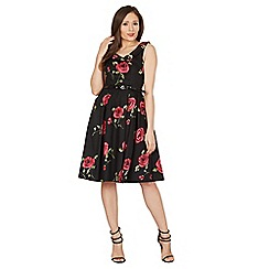 Izabel London - Black rose print fit and flare dress