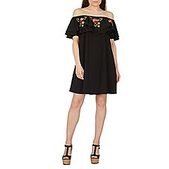 Izabel London - Black embroidered floral bardot dress