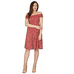 Izabel London - Red ditsy floral print bardot dress
