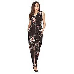 Izabel London - Black floral print zip detail midi dress