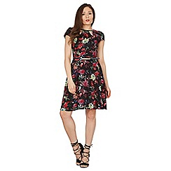Izabel London - Black round neck floral printed skater dress