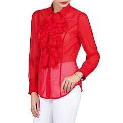 Jolie Moi - Red chiffon ruffle front shirt
