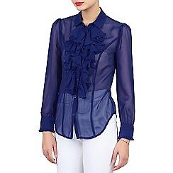 Jolie Moi - Royal chiffon ruffle front shirt