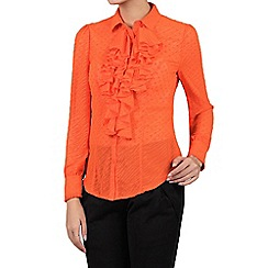 Jolie Moi - Orange textured chiffon ruffle blouse