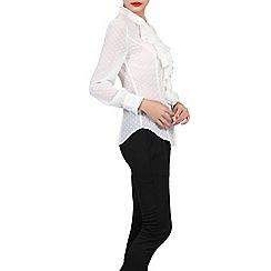 Jolie Moi - Ivory textured chiffon ruffle blouse