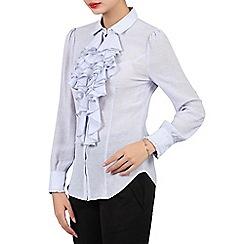 Jolie Moi - Blue striped ruffle front blouse