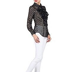 Jolie Moi - Navy polka dot ruffle shirt