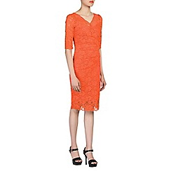 Jolie Moi - Peach 3/4 sleeves v neck ruched lace dress