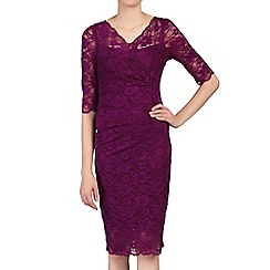 Jolie Moi - Plum 3/4 sleeves v neck ruched lace dress
