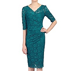 Jolie Moi - Dark turquoise 3/4 sleeves v neck ruched lace dress