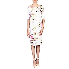 Jolie Moi - White retro floral print half sleeved dress