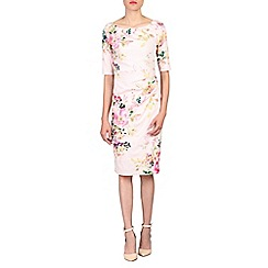 Jolie Moi - Pink retro floral print half sleeved dress