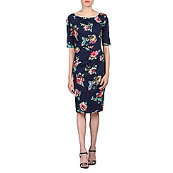 Jolie Moi - Navy 1/2 sleeves floral print dress