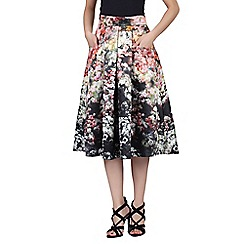 Jolie Moi - Black floral print pleated A-line skirt