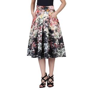 Jolie Moi Black floral print pleated A-line skirt