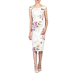 Jolie Moi - White floral 40's ruched wiggle dress