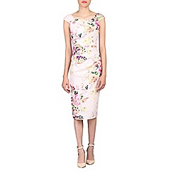 Jolie Moi - Light pink floral 40's ruched wiggle dress