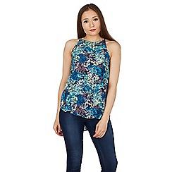 Apricot - Aqua palm print vest top
