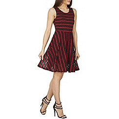 Izabel London - Multicoloured contrast stripe lace dress