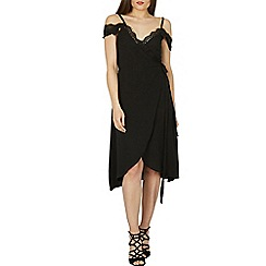 Izabel London - Black cold shoulder camisole top wrap dress