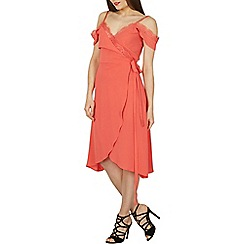 Izabel London - Pale peach cold shoulder camisole top wrap dress