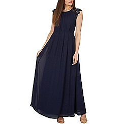 Izabel London - Navy chiffon lace shoulder maxi dress