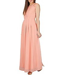 Izabel London - Light pink chiffon lace shoulder maxi dress