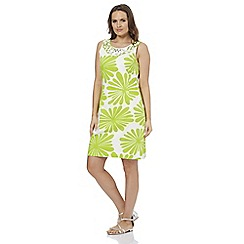 Roman Originals - Lime daisy print shift dress