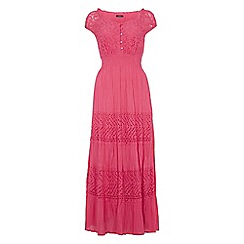 Roman Originals - Bright pink lace detail panel dress