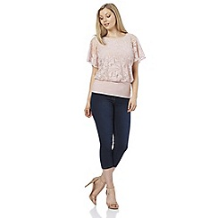 Roman Originals - Pink burnout frill sleeves top