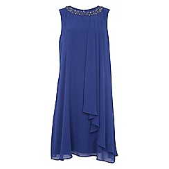 Roman Originals - Dark blue embellished neck dress