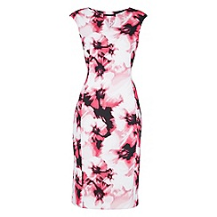Roman Originals - Cerise keyhole scuba print dress